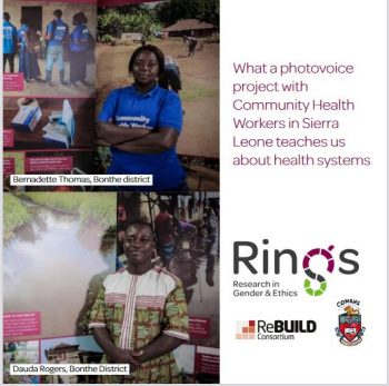 Cover of a booklet that shows two African health workers smiling at the camera