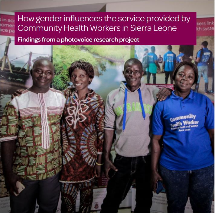 Booklet cover with the title '1How gender influences the service provided by Community Health Workers in Sierra Leone' and four, smiling health workers
