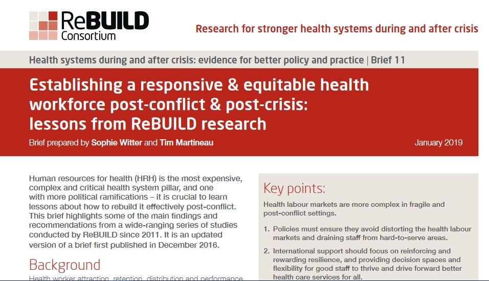 Screengrab of the top of the briefing paper - establishing a responsive and equitable health workforcec post-conflict and post-crisis
