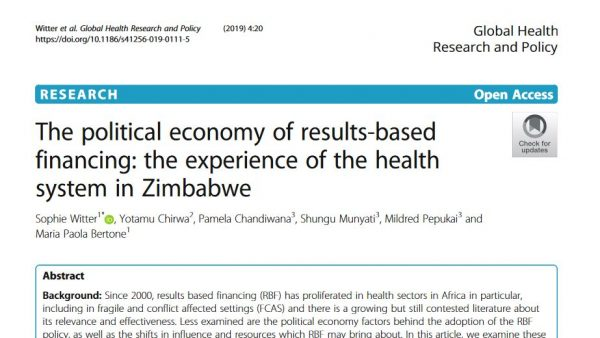 Screengrab of the top of an academic paper which reads 'The political economy of results-based financing: the experience of the health system in Zimbabwe'