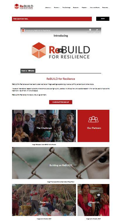 A screengrab of the ReBUILD for Resilience website homepage
