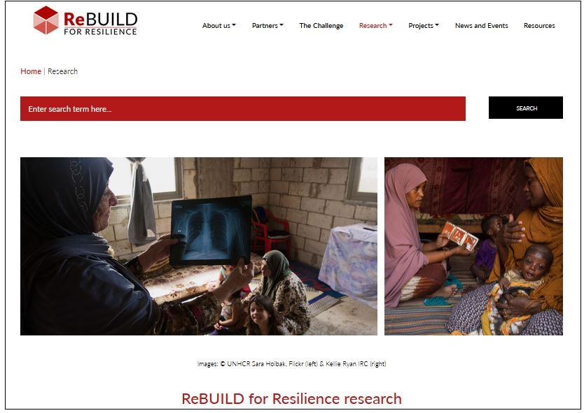 Screengrab of the top of the research page of the ReBUILD for Resilience website