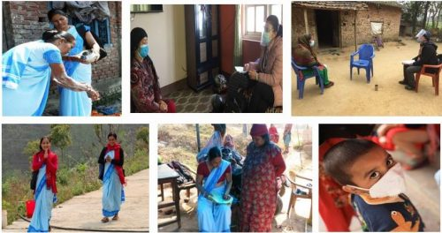 Six small images showing community health workers and patients in different contexts