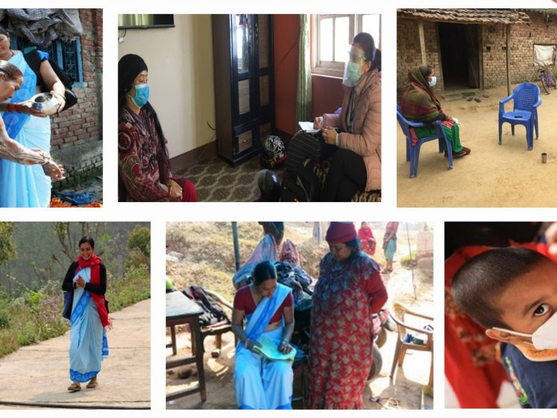 a montage of 6 images showing community health workers active in Nepal
